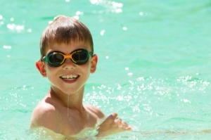 child in swimming
