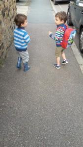 twins walking