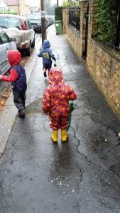 rainy school run