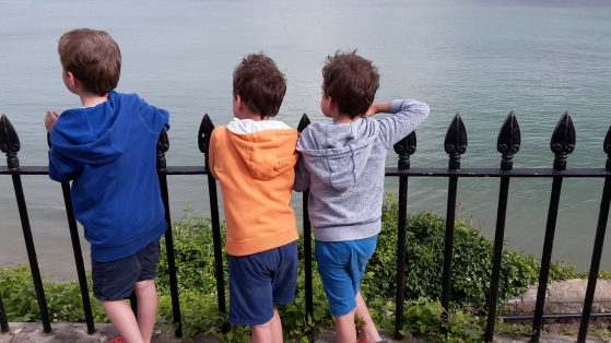 three boys at the seaside